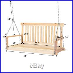 4' Porch Swing Patio Outdoor Hanging Seat Garden Chains Bench Wooden Furniture
