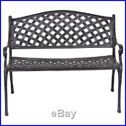 40 Outdoor Antique Garden Bench Aluminum Frame Seats Chair Patio Garden Furni