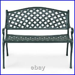 40 Outdoor Antique Garden Bench Aluminum Frame Seats Chair Patio Garden New