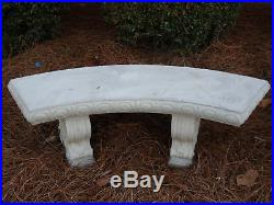 48 Curved Concrete Bench with Legs Scroll Design, Cement Bench, Patio Bench