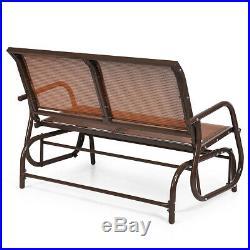 48 Outdoor Patio Swing Glider Bench Chair Loveseat Rocker Lounge Backyard Brown