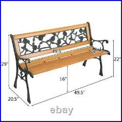 49 Patio Park Garden Bench Porch Path Chair Outdoor Iron & Hardwood &PVC 330lbs
