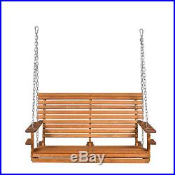 4ft Wood Porch Swing Garden Patio Hanging Bench Deck Courtyard Seat withCup Holder