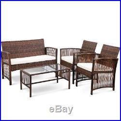 4pcs Outdoor Sofa Glass Table Set Garden Patio Reclining Chair Lounge Rattan Set