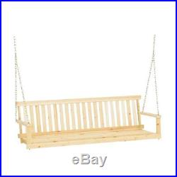 5 Foot Porch Swing Patio Seat Wood Bench Outdoor Furniture Chair Hanging New