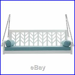 5 Foot White Hanging Porch Swing Bed Outdoor Seating Furniture Garden Patio