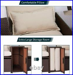 5 PCS Outdoor Furniture Set Patio Rattan Adjustable Chaise Lounge Recliner