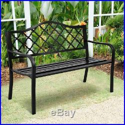 50 Patio Garden Bench Loveseats Park Yard Furniture Decor Cast Iron Frame Black