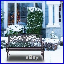 50 Patio Garden Bench Park Yard Outdoor Furniture Steel Frame Porch Chair Seat