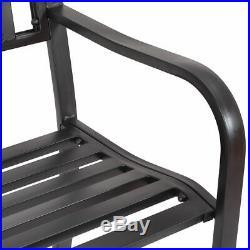 50 Patio Garden Bench Park Yard Outdoor Furniture Steel Slats Porch Chair Seat