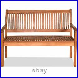 50 Two Person Outdoor Garden Bench Loveseat Porch Chair Solid Wood WithArmrest