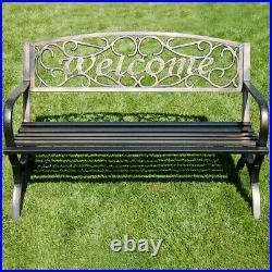 50 Welcome Decorative Patio Garden Outdoor Park Bench Seat Backyard, Bronze
