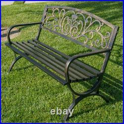50-inch Outdoor Bench Patio Backyard Metal Garden Furniture Seat Bronze/Black