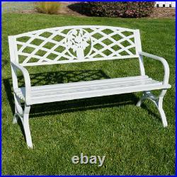 50 inch Outdoor Park Bench Garden Backyard Chair Porch Seat Steel Frame, White