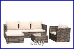 5PCS Outdoor Furniture Sofa Set Rattan Patio Wicker Rattan WithStorage Box Table
