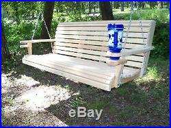 5ft Cypress Deluxe Roll Wood Porch Swing finished with cupholders and springs