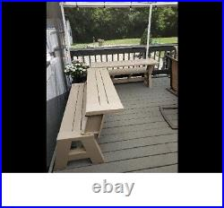 5ft. Yard Outdoor Convert-a-Bench Seat Convert To Picnic Table Resin Vinyl Fold