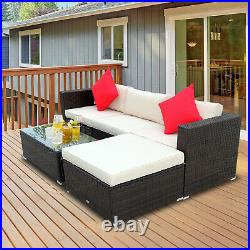 5pc Outside Wicker Furniture Couch Lounge Set for Patio, Backyard, and Porch