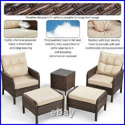 5pcs Patio Conversation Set Outdoor Sectional Sofa Couch Patio Furniture Lounge