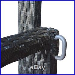 66.5 Black Wicker Porch Swing Chair Outdoor Furniture Patio Hang Bench Hammock