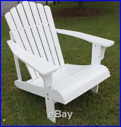 7 Slat Hardwood Wood Adirondack Chair Outdoor Deck Pool Back Yard Lounger Seat