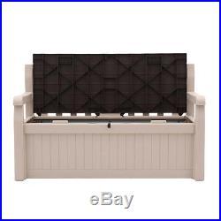 70 Gal. Garden Bench Deck Box Outdoor Plastic Patio Furniture Waterproof Storage