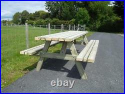7ft Picnic Bench Extra Heavy Duty Redwood (wide Seat) Garden Table