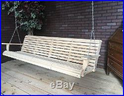 7ft Wood Wooden Cypress Roll Contoured Porch Swing Yard Bench Made In USA