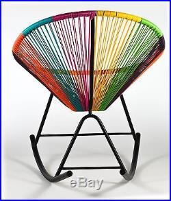 Acapulco Sun Oval Weave Indoor Outdoor Rainbow Multi-Color Rocker Rocking Chair