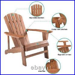 Adirondack Chair Wood Outdoor Furniture Weatherproof Patio PoolSide Garden USA