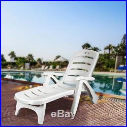 Adjustable Folding Patio Chaise Deck Chair Lounger 5 Position Recliner with Wheels