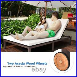 Adjustable Patio Rattan Wicker 2 Person Recliner Lounge Chair with Cushion Wheel