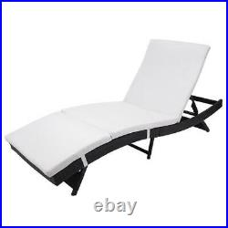 Adjustable Pool Chaise Lounge Chair Outdoor Patio Furniture PE Wine With Cushion