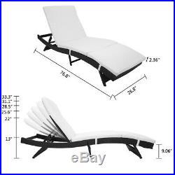 Adjustable Pool Chaise Lounge Chair Patio Furniture PE Wicker WithCushion S Style