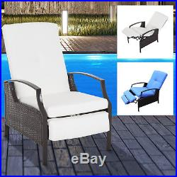 Adjustable Wicker Recliner Cushion Chair Pool Chaise Patio Lounge outdoor
