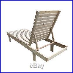 Adjustable Wooden Chaise Lounge Chair Patio Pool Backyard Garden Outdoor Leisure