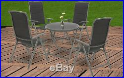 Alu Klappstuhl Gartenstuhl Campingstuhl Hochlehner Grau NEU Sparset 2/4/6 Stühle