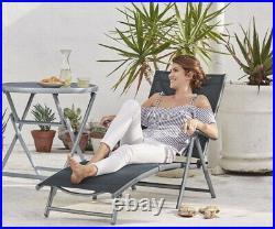 Aluminium Reclining Sun Lounger Adjustable Back & Arm Rest Garden Bed Chair