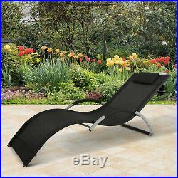 Aluminum Mesh Fabric Outdoor Chaise Sun Bathing Lounge Chair Black