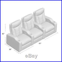 Artificial Leather 3-Seat Home Theater Seating Movie Recliners Seat Chair Couch