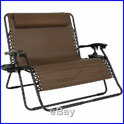 BCP 2-Person Double Wide Zero Gravity Chair Lounger with Cup Holders, Headrest