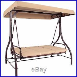 BCP Converting Outdoor Swing Canopy Hammock Seats 3 Patio Deck Furniture Tan