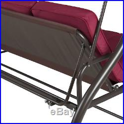 BCP Converting Outdoor Swing Canopy Hammock Seats 3 Patio Furniture Burgundy