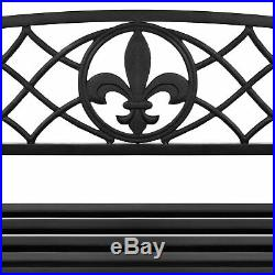 BCP Outdoor Metal Hanging 2-Person Swing Bench with Fleur-de-Lis Accents Black