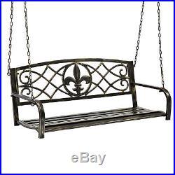 BCP Outdoor Metal Hanging Patio Porch Swing Black