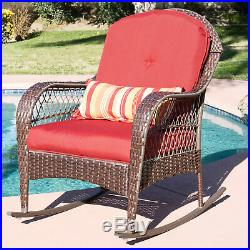 BCP Wicker Steel Frame Rocking Chair with Decorative Pillow and Cushions