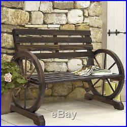 BCP Wooden Wagon Wheel Bench Brown