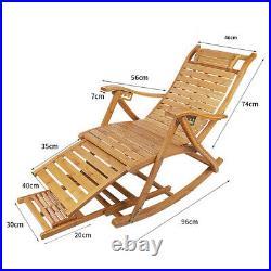 Bamboo Rocking Chair Lengthen Arm Chair Indoor Outdoor Balcony Relaxing Recliner