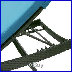 Beach Sunbed Wicker Chaise Lounge Adjustable Patio Couch Pool Outdoor with Cushion