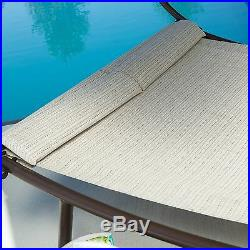 Beige Canopy Patio Double Chaise Lounge Outdoor Home Garden Furniture Poolside